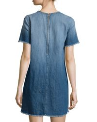 Current/Elliott - Blue The Frayed-edge Denim Shift Dress - Lyst
