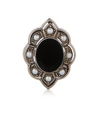 Gucci - Black Pearl, Velvet And Palladium-Plated Ring - Lyst