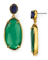 Ralph Lauren - Green Lauren Double Drop Earrings - Lyst