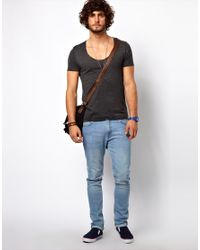 ASOS | Gray Tshirt with Raw Edge Uneck for Men | Lyst