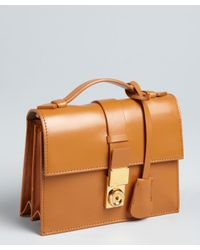 Giorgio Armani | Brown Camel Leather Top Handle Convertible Shoulder Bag | Lyst