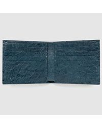 Gucci - Blue Ostrich Bi-fold Wallet for Men - Lyst