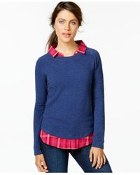 Tommy Hilfiger - Blue Layered Sweatshirt Top - Lyst