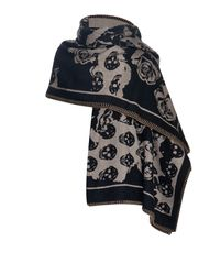 Alexander McQueen | Black Roses & Skull Knit Blanket | Lyst