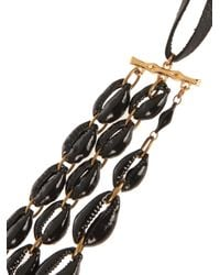 Isabel Marant | Black Leather And Shell Necklace | Lyst