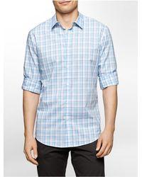 Calvin Klein - Blue White Label Slim Fit Plaid Cotton Shirt for Men - Lyst