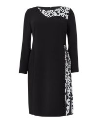 Marina Rinaldi | Black Printed Long Sleeve Dress | Lyst