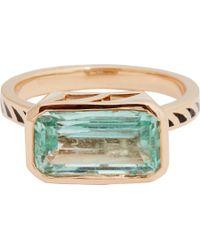 Dezso by Sara Beltran - Metallic Emerald, Jali Black Enamel & Rose Gold Ring - Lyst