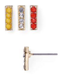 Aqua - Metallic Lexi Stud Earrings, Set Of 3 - Lyst
