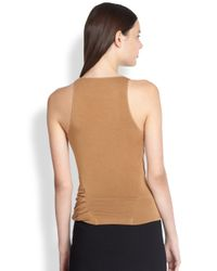 Donna Karan | Brown Asymmetrical Draped Jersey Top | Lyst