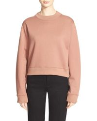 Acne | Brown 'bird Fl' Crop Sweatshirt | Lyst
