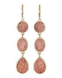 Fragments | Pink Threetier Druzy Drop Earrings Rose | Lyst