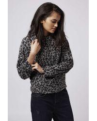 TOPSHOP - Multicolor Fluffy Leopard Print Sweatshirt - Lyst