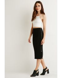 Forever 21 | Black Contemporary Ribbed Side-zipper Midi Skirt | Lyst