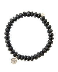 Sydney Evan   8Mm Faceted Black Spinel Beaded Bracelet With Mini Yellow Gold Pave Diamond Disc Charm (Made To Order)   Lyst