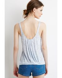 Forever 21 | Blue Contemporary Marled Knit Pleated-back Tank | Lyst