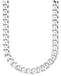 Macy's | Metallic Men's Sterling Silver Curb Link Necklace for Men | Lyst