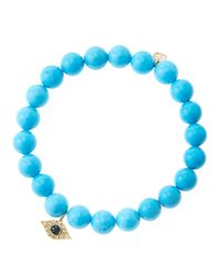 Sydney Evan | Blue 8Mm Turquoise Beaded Bracelet With 14K Yellow Gold/Diamond Small Evil Eye Charm (Made To Order) | Lyst