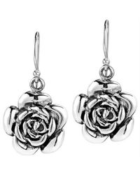 Aeravida | Metallic Sweet Blooming Rose .925 Silver Dangle Earrings | Lyst