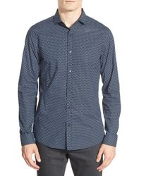 Michael Kors | Blue 'ted' Print Slim Fit Sport Shirt for Men | Lyst