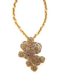 Oscar de la Renta - Metallic Rose Pave Brooch Necklace Black Diamond - Lyst