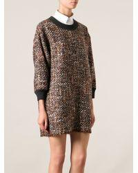 Dolce & Gabbana - Brown Boucle Knit Shift Dress - Lyst
