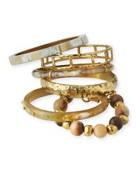 Ashley Pittman | Metallic Washa Light Horn Bangles | Lyst