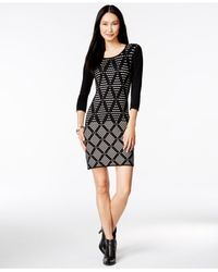 Spense | Black Petite Textured Diamond-print Sweater Dress | Lyst