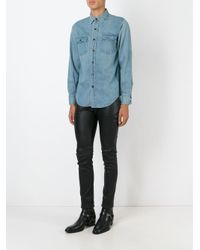 Saint Laurent - Blue Classic Western Shirt for Men - Lyst