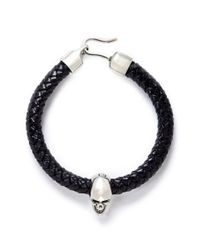 Alexander McQueen | Black Skull Charm Braid Leather Bracelet for Men | Lyst