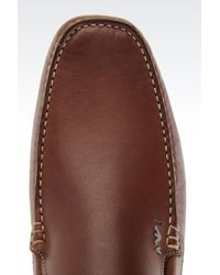 Armani Jeans - Brown Classic Leather Driving Shoe for Men - Lyst