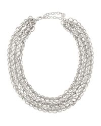 R.j. Graziano | Metallic Silvertone Three-row Chain Necklace | Lyst