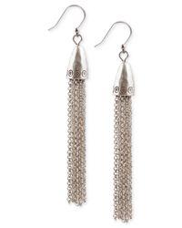Lucky Brand - Metallic Silver-tone Chain Drop Earrings - Lyst