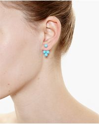 Yvonne Léon | Metallic 18Kt Gold And Turquoise Pearl Trilogy Earring | Lyst