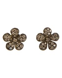 Colette | Metallic Champagne Diamonds Flower Studs Earrings | Lyst