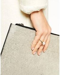 ASOS | White Gold Plated Sterling Silver Faux Pearl Ring | Lyst