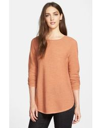 Eileen Fisher | Orange Ballet Neck Fine Gauge Merino Tunic Sweater | Lyst