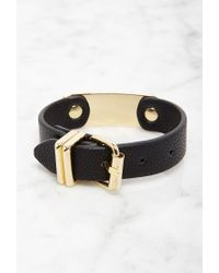 Forever 21 - Metallic Faux Leather Buckled Bracelet - Lyst