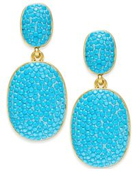 kate spade new york | Blue Gold-tone Turquoise-colored Pavé Drop Earrings | Lyst