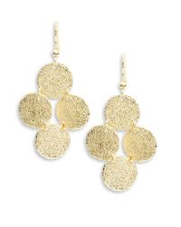 Karen Kane | Metallic Textured Disc Chandelier Earrings | Lyst