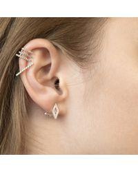 Astrid & Miyu - Metallic Diamond Ear Jacket In Gunmetal - Lyst