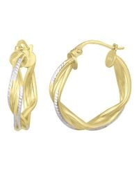Lord & Taylor | Metallic 18kt. Gold & Sterling Silver Woven Hoop Earrings | Lyst