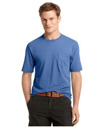 Izod - Blue Solid Crew Neck T-shirt for Men - Lyst