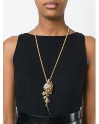 Roberto Cavalli - Metallic Floral Pendant Necklace - Lyst