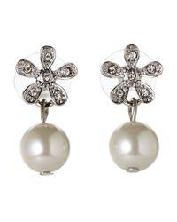 Anne Klein - Metallic Faux Pearl Floral Earrings - Lyst