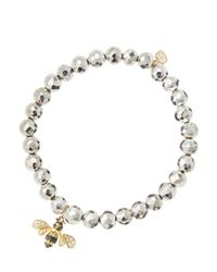 Sydney Evan - Metallic 6mm Faceted Silver Pyrite Beaded Bracelet With 14k Gold/diamond Bee Charm (made To Order) - Lyst