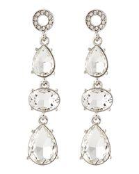 R.j. Graziano | Metallic Triple-Drop Crystal Earrings | Lyst