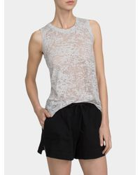 White + Warren | Gray Cotton Burnout Sleeveless Tank | Lyst