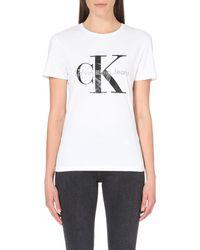 Calvin Klein | White Logo-print Cotton-jersey T-shirt | Lyst
