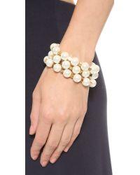 Tory Burch - Metallic Tilde Multi Strand Bracelet Ivory Pearlshiny Brass - Lyst